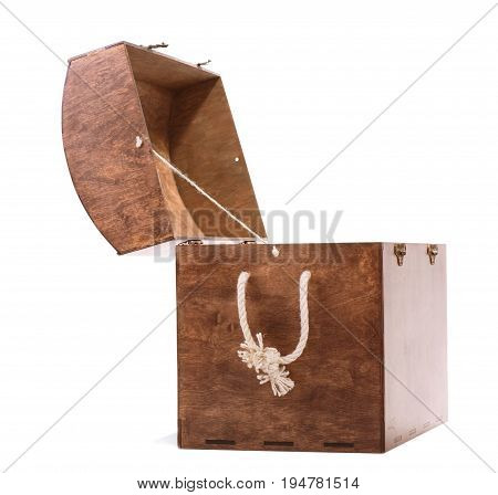 A big dark amber wooden box on isolated background. Spacious antique opened hazel chest with a white beige rope. Empty rustic bright box for kids isolated on white background.