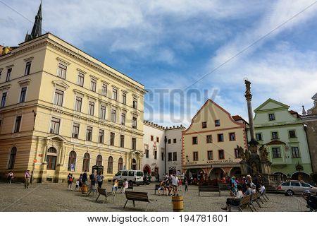 Cesky Krumlov, Czech Republic - June 9, 2017: Old Town Square in Cesky Krumlov