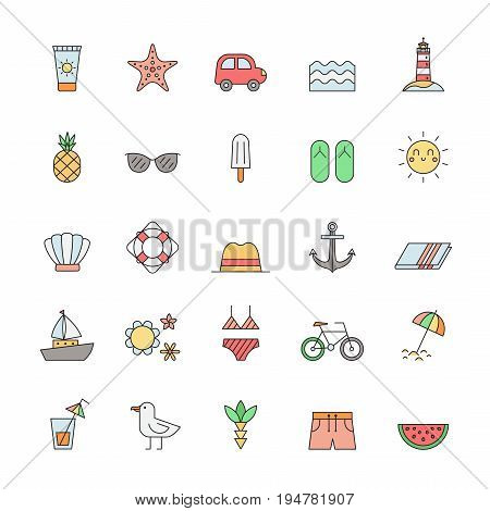 Summer sea and beach outline multicolored icon vector set.