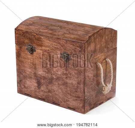 The high and large brown chest for the cubes, toys or multi-colored wooden blocks, isolated on a white background. The wooden box for the game. The chest is closed with colorful and wooden cubes.