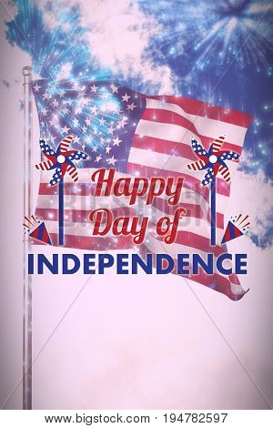 Vector image of Happy Independence day text with decoration  against colourful fireworks exploding on black background