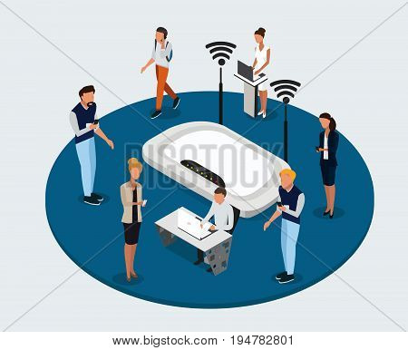 Vector concept of wireless technology devices. Flat  isometric poster with router and isometric people. -stock vector
