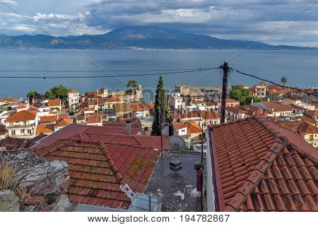 NAFPAKTOS, GREECE - MAY 28, 2015: Amazing Panoramic view of Nafpaktos town, Western Greece