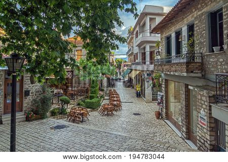 PATRAS, GREECE - MAY 28, 2015:  Typical street in nafpaktos town, Western Greece