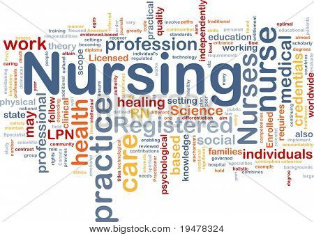 Background concept wordcloud illustration of nursing