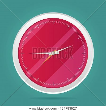 Vector picture of round analog clock face watch.