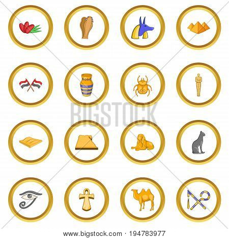 Egypt travel icons circle gold in cartoon style isolate on white background vector illustration