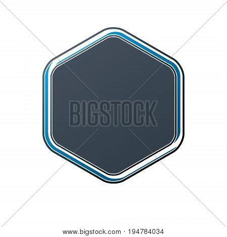 Victorian art vector hexagonal frame with copy space. Heraldic template illustration mirror border.