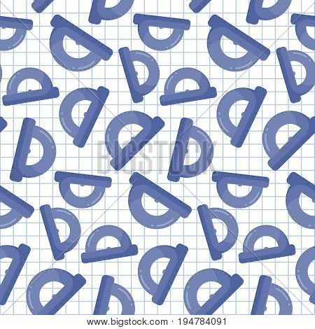 Protractor vector seamless pattern Flat design of measuring tool mathematics or geometry on the notebook page background cute vector illustration