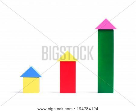 Multi-colorful wooden cube building blocks. Many different multi-colored wooden cubes isolated on a white background. Creative wooden ecological toys for construction.