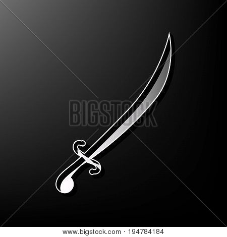 Sword sign illustration. Vector. Gray 3d printed icon on black background.