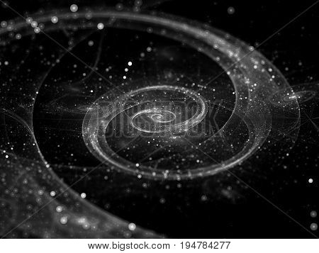 Spiral galaxy in deep space black and white computer generated abstract background