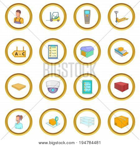 Warehouse store icons circle gold in cartoon style isolate on white background vector illustration