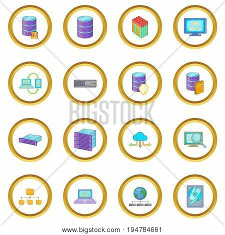 Data base icons circle gold in cartoon style isolate on white background vector illustration