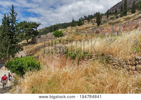 Ruins of Ancient Greek archaeological site of Delphi, Central Greece
