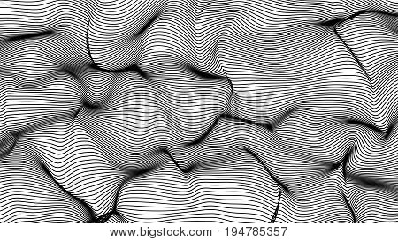 Black Abstract Waves On White Background - Shape Made Of Lines