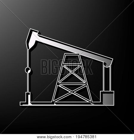 Oil drilling rig sign. Vector. Gray 3d printed icon on black background.