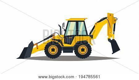 Yellow backhoe loader on a white background. Construction machinery. Special equipment. Vector illustration