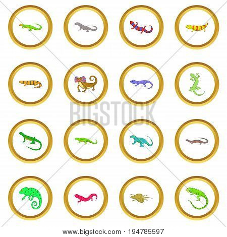 Lizard icons circle gold in cartoon style isolate on white background vector illustration
