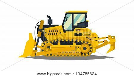 Bulldozer. Tracked vehicles, tractor. Yellow, isolated on white background. Plowman digger Vector illustration