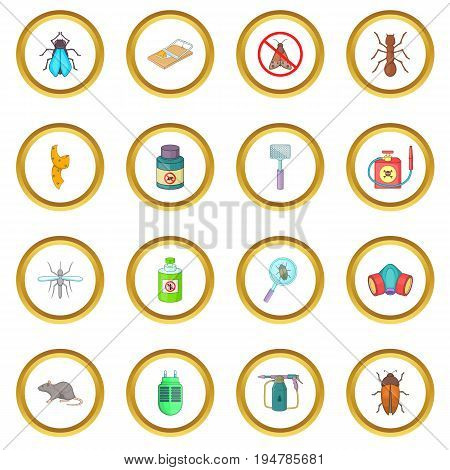Exterminator icons circle gold in cartoon style isolate on white background vector illustration