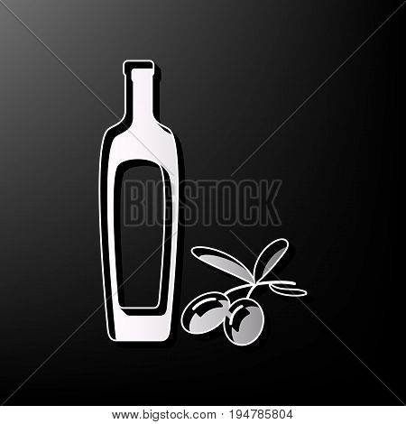 Black olives branch with olive oil bottle sign. Vector. Gray 3d printed icon on black background.