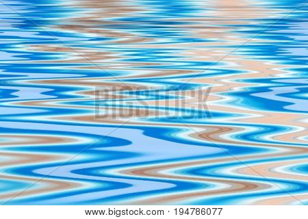 Colorful wave pattern of cyan, orange and white