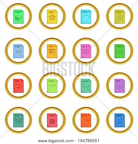 File extension icons circle gold in cartoon style isolate on white background vector illustration