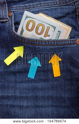 Money in the jeans pocket. Business concept. pocket money.