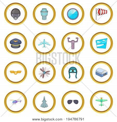 Aviation icons circle gold in cartoon style isolate on white background vector illustration