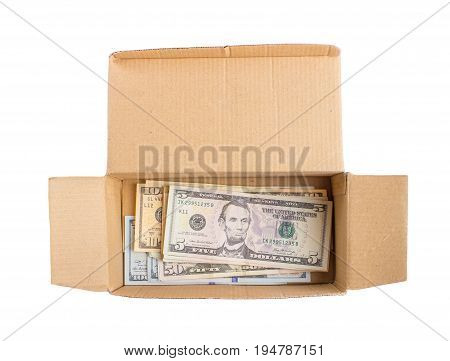 Money In Box. Box With American Dollars Isolated.