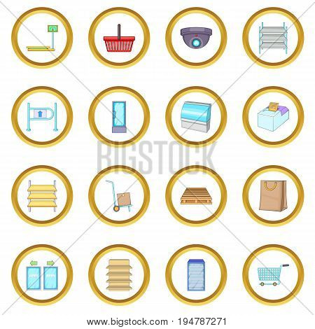 Supermarket icons circle gold in cartoon style isolate on white background vector illustration
