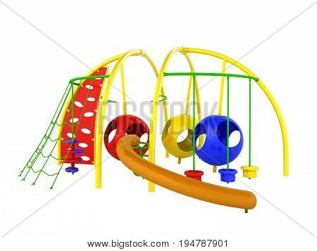Childrens Playground Mesh Slide Balls Red Blue Green 3D Render On White Background No Shadow