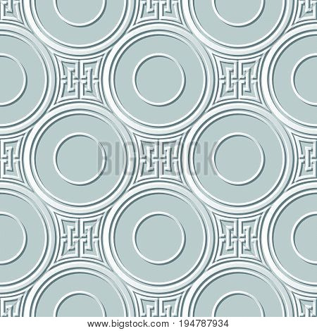 Vector Damask Seamless 3D Paper Art Round Square Cross Chain