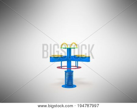 Playground Children Spring Yellow Yellow Red 3D Render On Gray Background