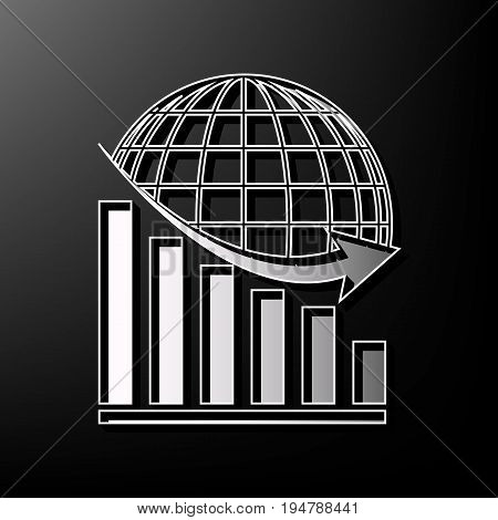 Declining graph with earth. Vector. Gray 3d printed icon on black background.