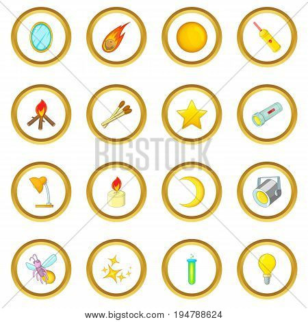 Sources of light icons circle gold in cartoon style isolate on white background vector illustration