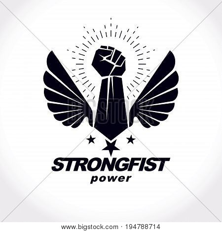 Strong fist of a muscular man vector illustration. Best fighter vector symbol triumph concept.