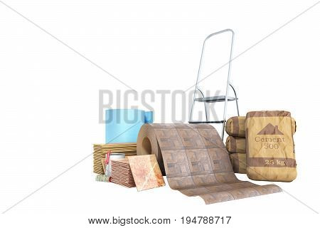 Concept Of Repair Work Construction Materials Isolated On White 3D Rendering On White No Shadow