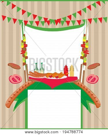 Barbecue Party abstract Invitation card , vector illustration