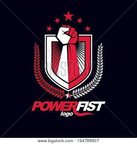 Vector symbol created using clenched fist of athletic strong man protection shield bird wings and different graphic elements. Fighter club conceptual logo.