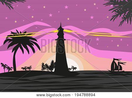 Lighthouse seen from a tiny beach , vector illustration