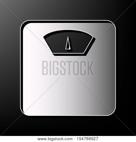 Bathroom scale sign. Vector. Gray 3d printed icon on black background.