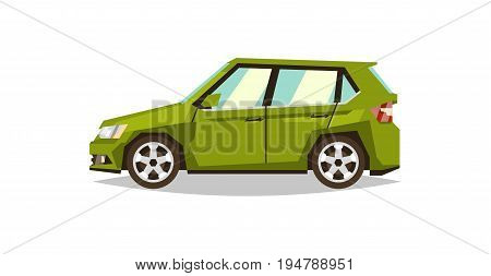 Green car hatchback. Side view. Transport for travel. Gas engine. Alloy wheels. Flat style