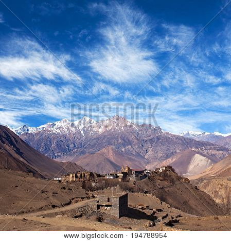 Jarkot Village And Himalaya Mountain Landscape On Annapurna Circuit Trek, Nepal