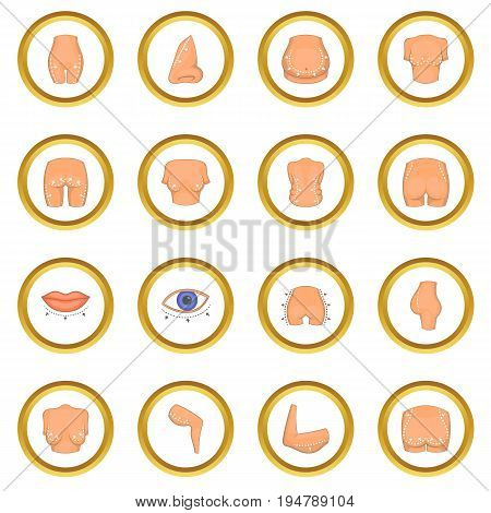 Plastic surgeon icons circle gold in cartoon style isolate on white background vector illustration
