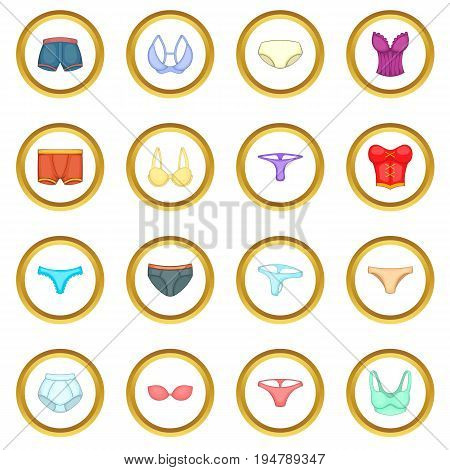 Underwear icons circle gold in cartoon style isolate on white background vector illustration