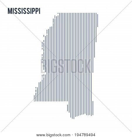 Vector Abstract Hatched Map Of State Of Mississippi With Vertical Lines Isolated On A White Backgrou