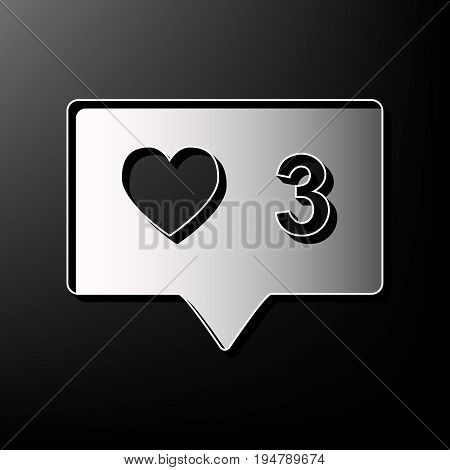 Like and comment sign. Vector. Gray 3d printed icon on black background.