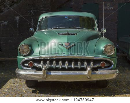 Stade, Germany - July 9, 2017: An unrestored 1954 DeSoto Firedome at Summer Drive US car meeting. DeSoto is an American automobile marque manufactured by Chrysler Corporation from 1928 to the 1961.